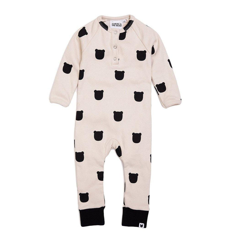 Blush Bear Button Romper - Pale Blush - Tim and Gerry's Sydney