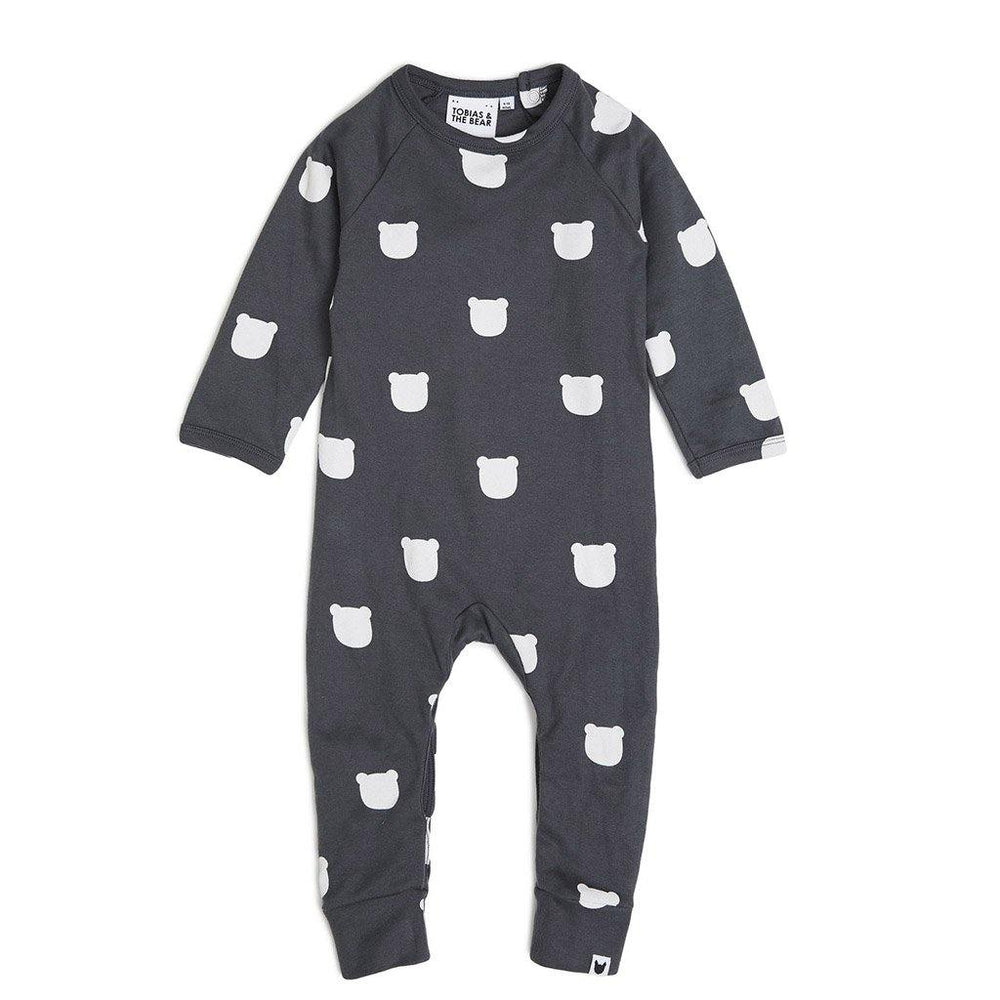 Charcoal Bear Long Romper - Charcoal
