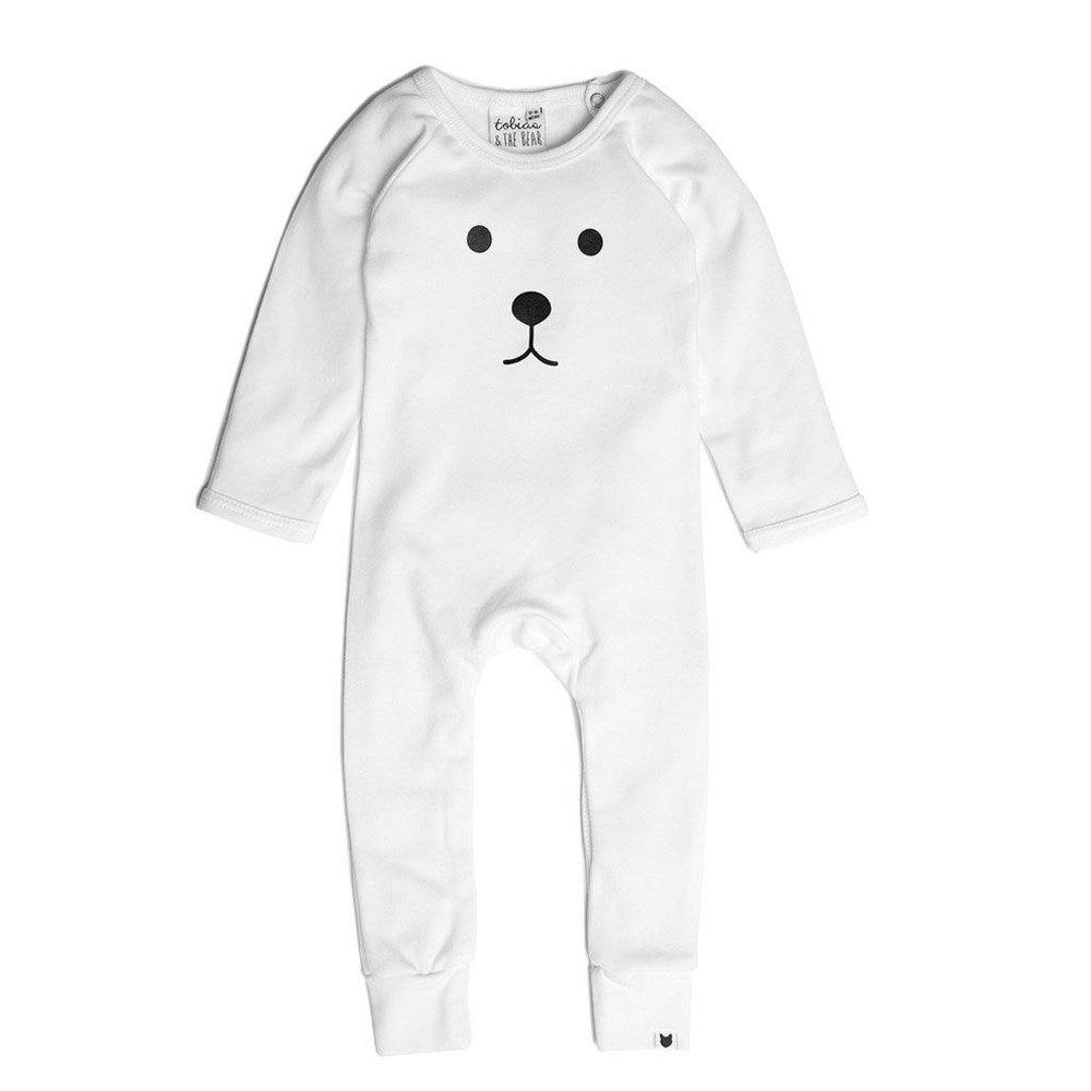 Bear Long Romper - White