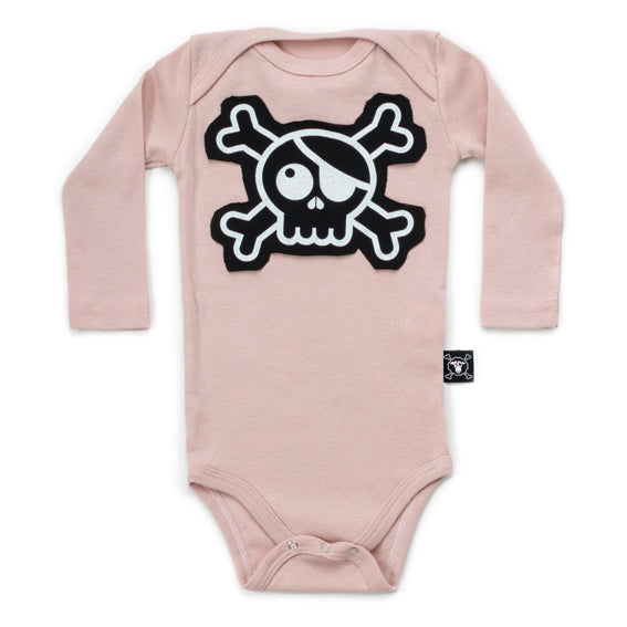 Skull Patch Onesie - Powder Pink