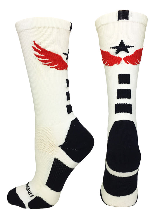Light Speed Athletic Crew Socks (White/Navy/Red,Large) - White/Navy/Red,Large