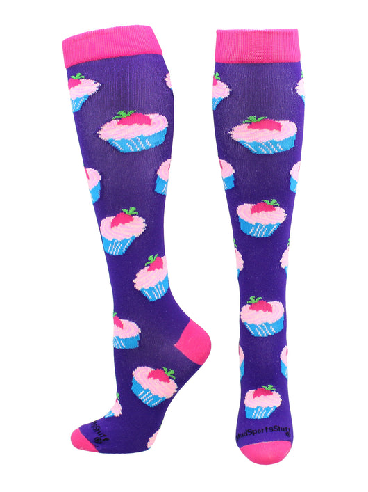 Cupcake Socks Over the Calf Length (Purple/Rose Pink, Large)