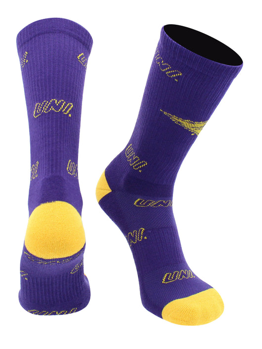 Northern Iowa Panthers Socks Mayhem Crew Socks (Purple/Gold, Large) - Purple/Gold,Large