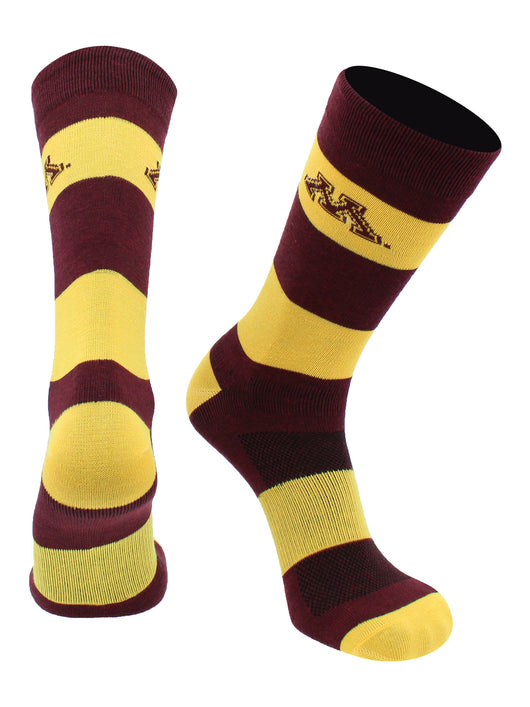 Minnesota Golden Gophers Game Day Striped Socks (Maroon/Gold, Large) - Maroon/Gold,Large