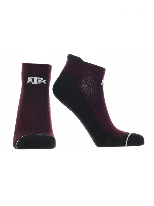 Texas A&M Aggies Low Cut Ankle Socks Tab (Maroon/Black, Large) - Maroon/Black,Large