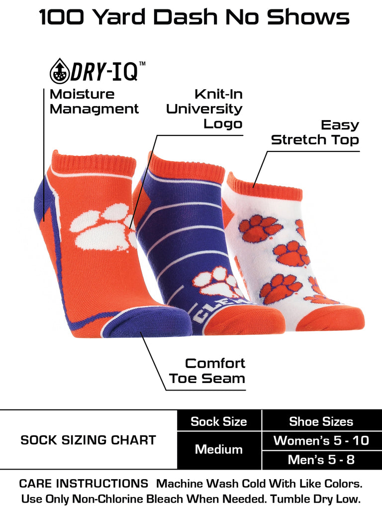 Clemson Tigers No Show Socks Full Field 3 Pack
