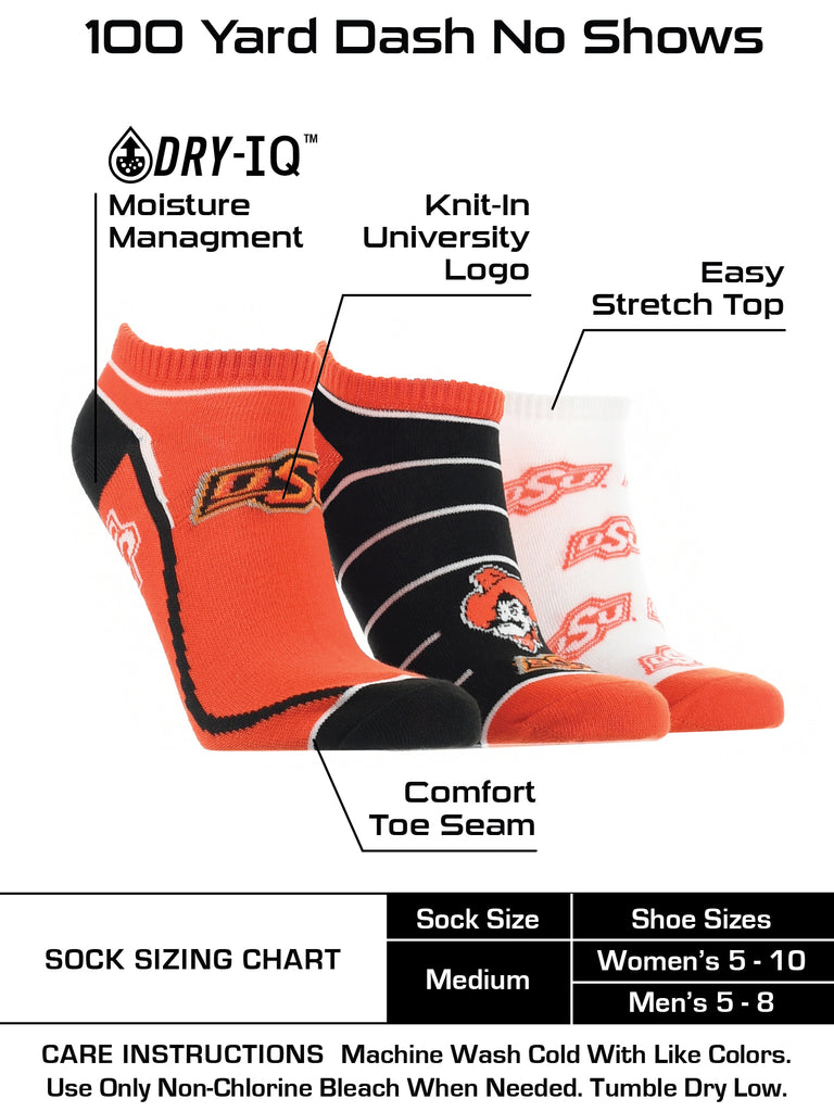 Oklahoma State Cowboys No Show Socks Full Field 3 Pack