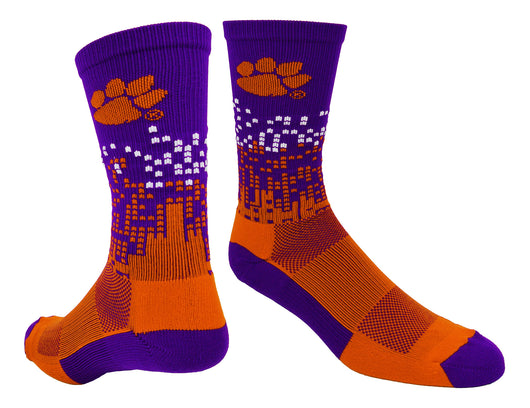 Clemson Downtown Crew Socks (Purple/Orange/White, Large) - Purple/Orange/White,Large