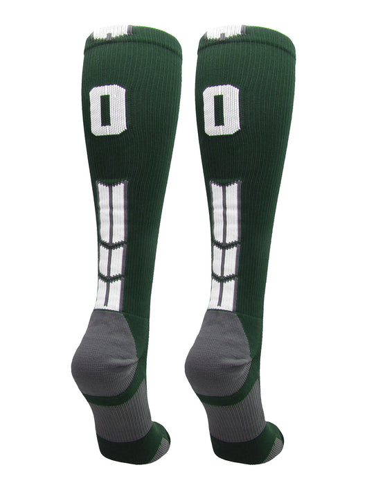 Player Id Number Socks Over the Calf Dark Green White (#00, Small) - #00,Small