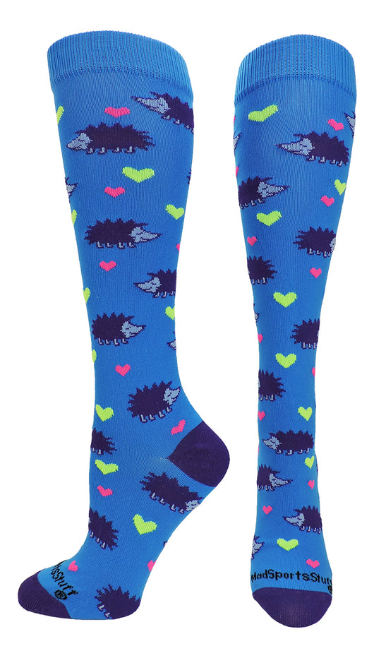 Hedgehog Love Over the Calf Socks (Electric Blue/Purple, Large)