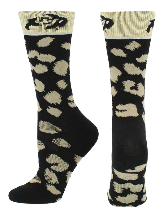CU Buffs Womens Savage Socks (Black/Gold, Medium) - Black/Gold,Medium
