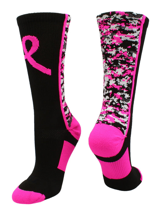 Digital Camo Aware Crew Socks (Black/Neon Pink, Large)