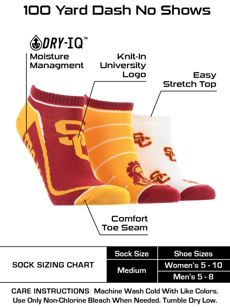 USC Trojans No Show Socks Full Field 3 Pack