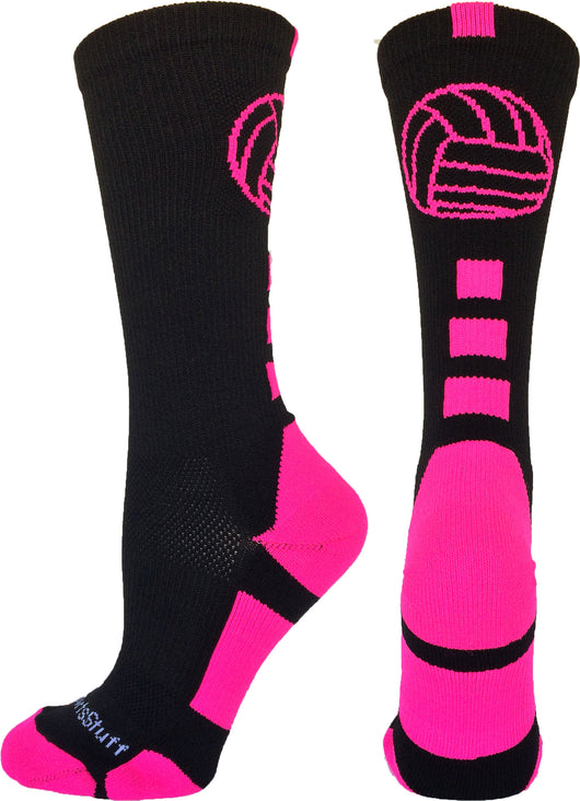 Volleyball Logo Crew Socks (Black/Neon Pink, Large)