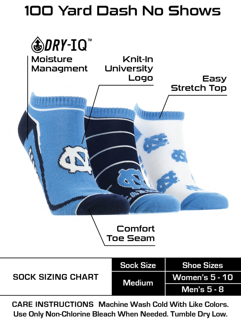 North Carolina Tar Heels No Show Socks Full Field 3 Pack