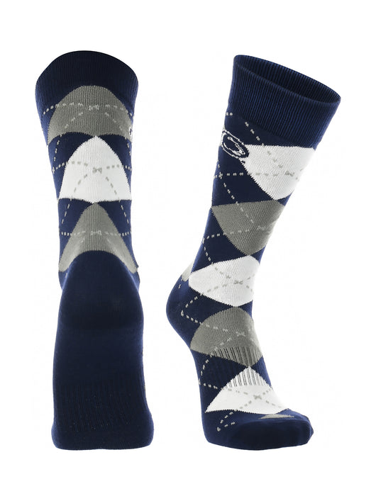 Penn State Nittany Lions Argyle Dress Socks (Navy/Grey/White, Large)