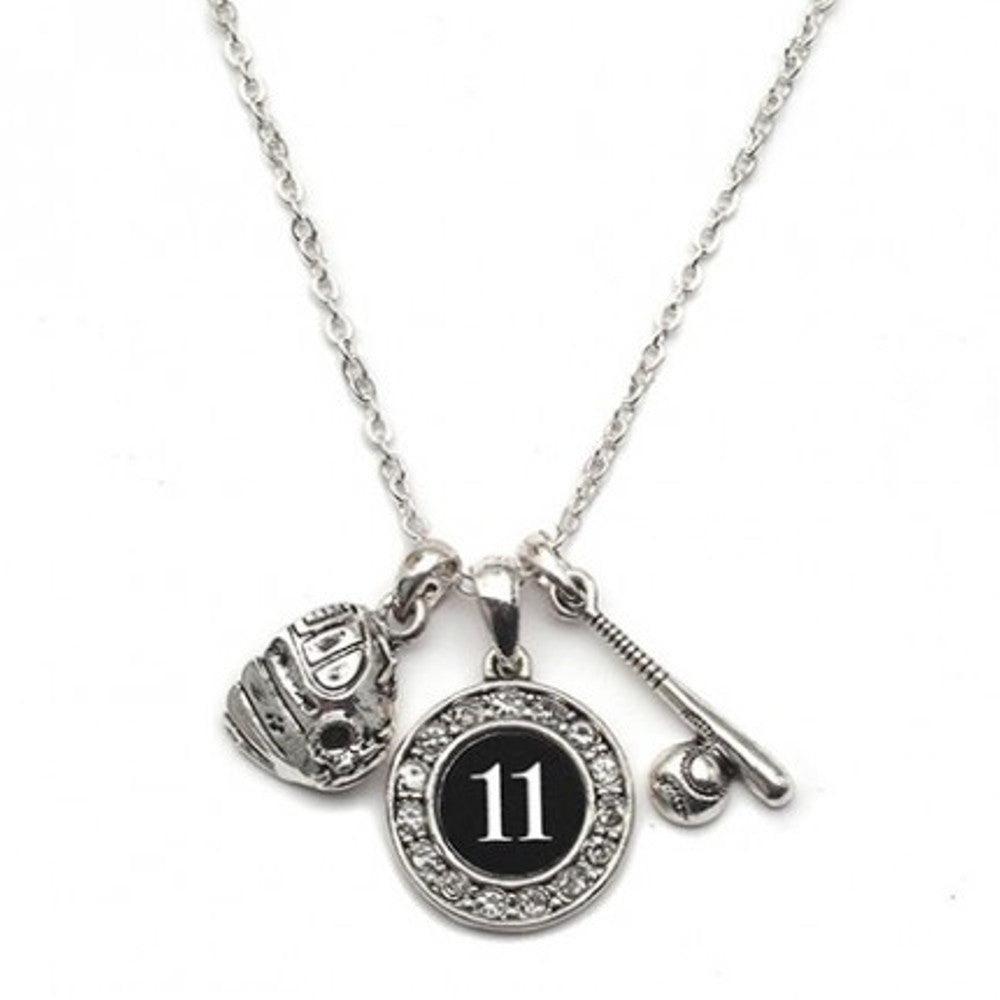 Girls Softball Necklace with Jersey Number (Available in 39 numbers)