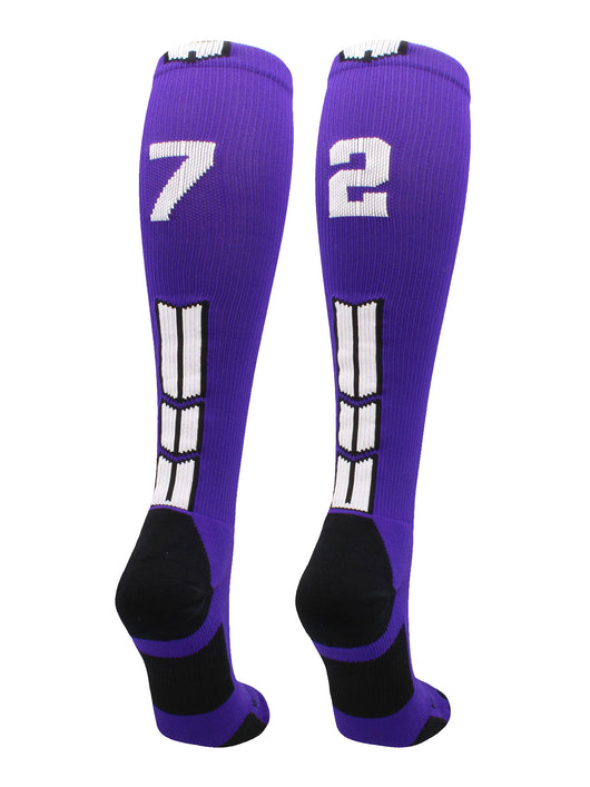 Player Id Number Socks Over the Calf Purple White (#72, Small)