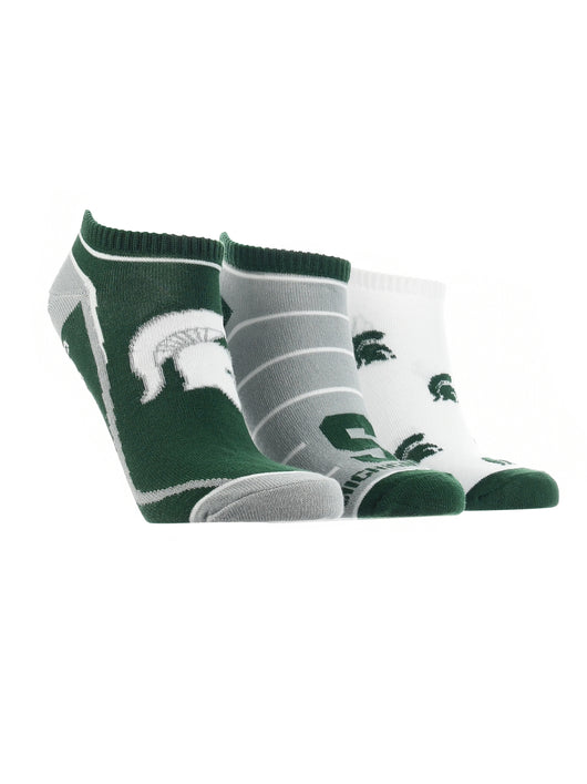Michigan State Spartans No Show Socks Full Field 3 Pack (Green/Grey/White, Medium)