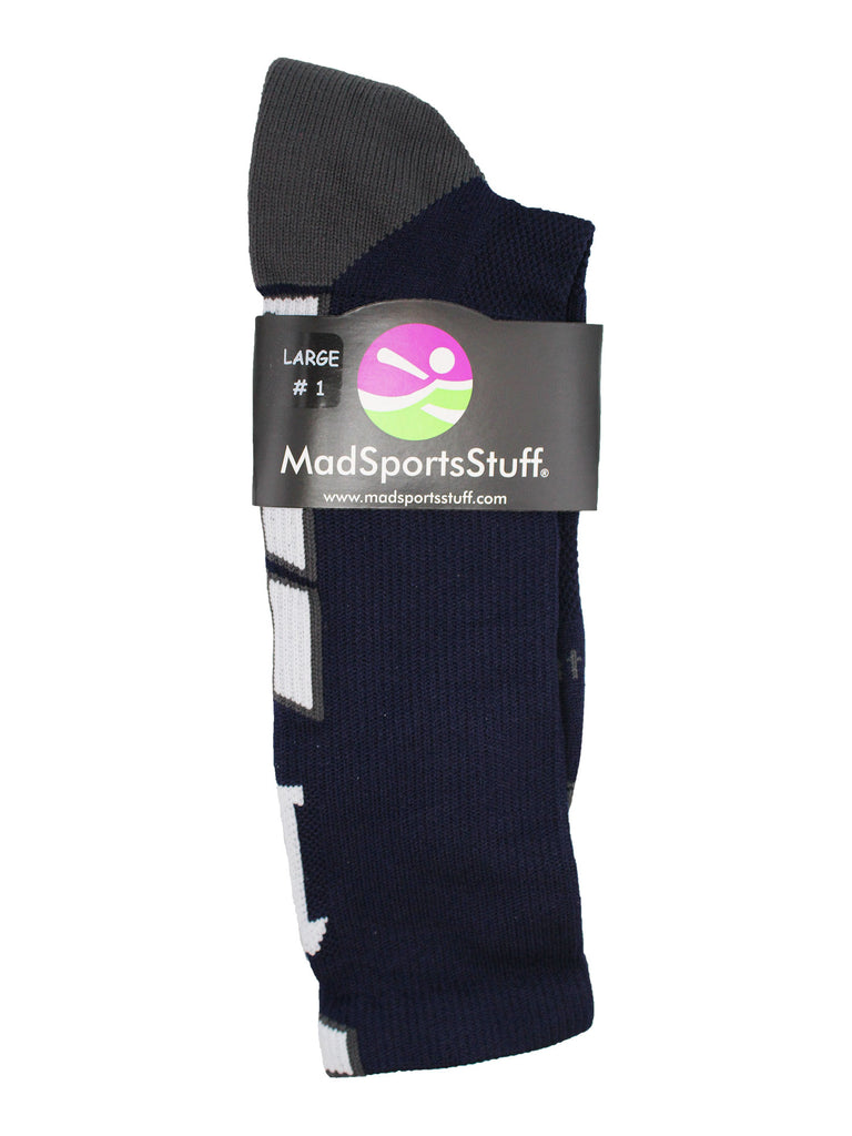 Navy Player ID Custom Number Crew Socks for Basketball Lacrosse Volleyball Boys and Girls