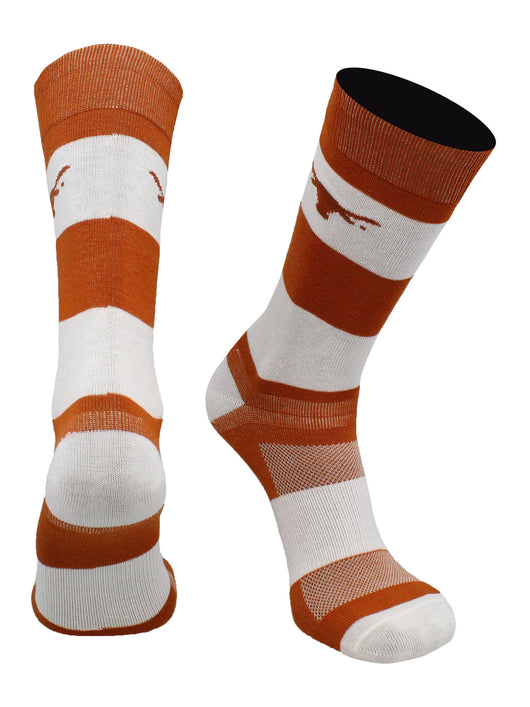 Texas Longhorns Game Day Striped Socks (Texas Orange/White, Large) - Texas Orange/White,Large