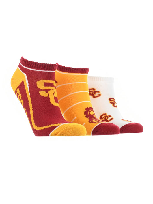 USC Trojans No Show Socks Full Field 3 Pack (Red/Gold/White, Medium)