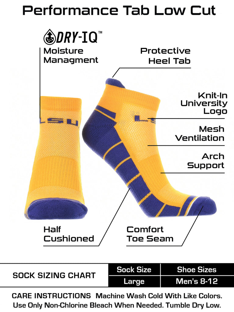 LSU Tigers Low Cut Ankle Socks with Tab