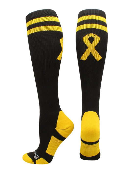 Gold Ribbon Childhood Cancer Awareness OTC Socks (Black/Gold, Large)