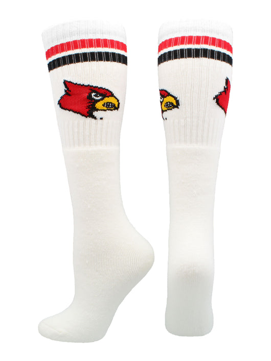 Louisville Cardinals Throwback Tube Socks (White/Red, Large) - White/Red,Large