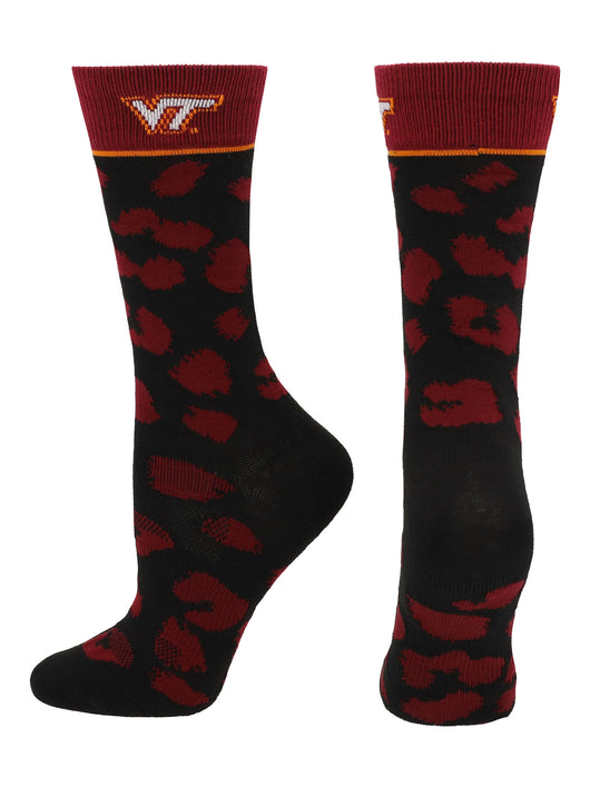 Virginia Tech Hokies Womens Savage Socks (Maroon/Black, Medium) - Maroon/Black,Medium