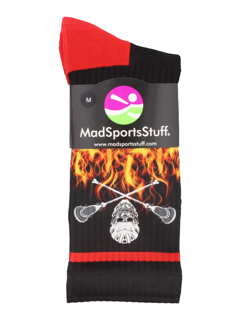 Lacrosse Socks with Lacrosse Sticks and Flaming Skull Athletic Crew Socks