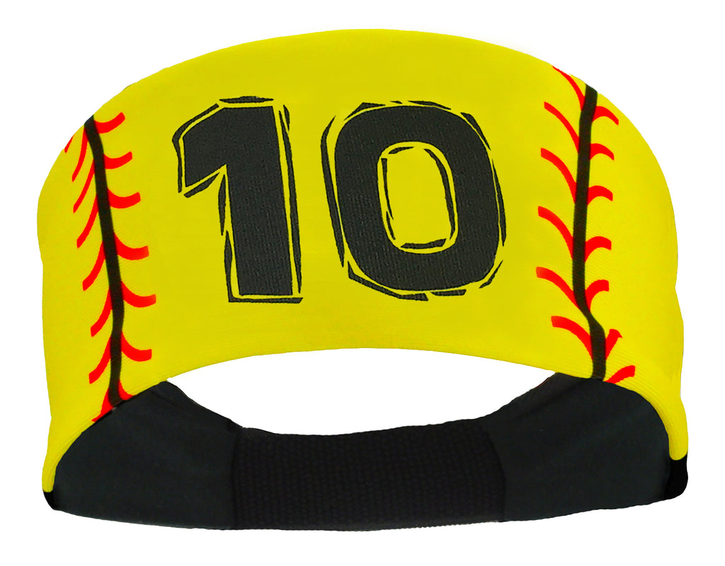 Jersey Number Softball Headband with Stitches (numbers 00-39)
