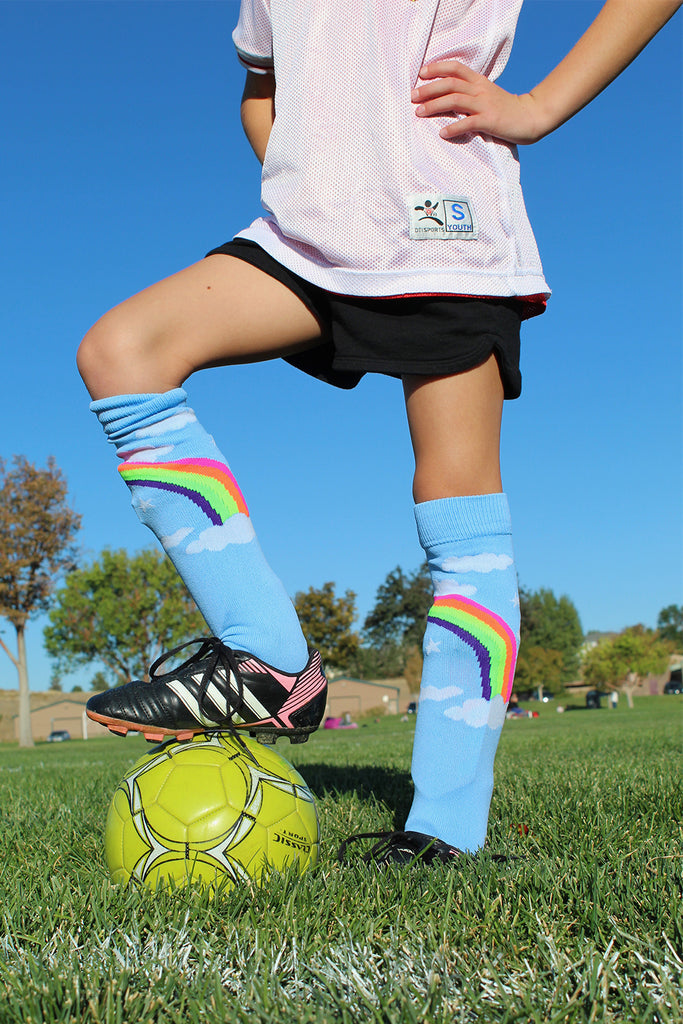 Neon Rainbow Clouds Over the Calf Athletic Socks