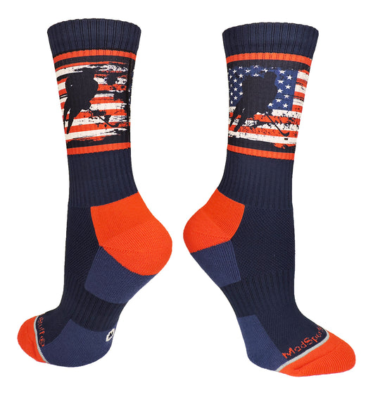 USA Flag Hockey Player Crew Socks (Navy/Red/White, Large) - Navy/Red/White,Large