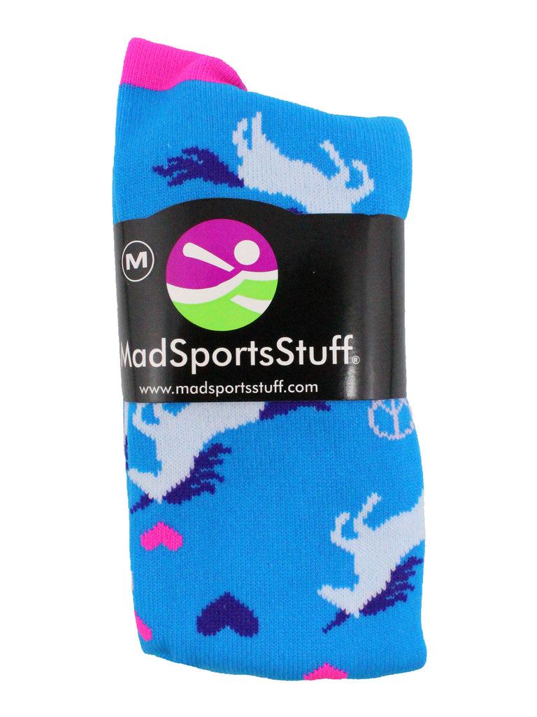 Peace Love Unicorn Over the Calf Athletic Socks