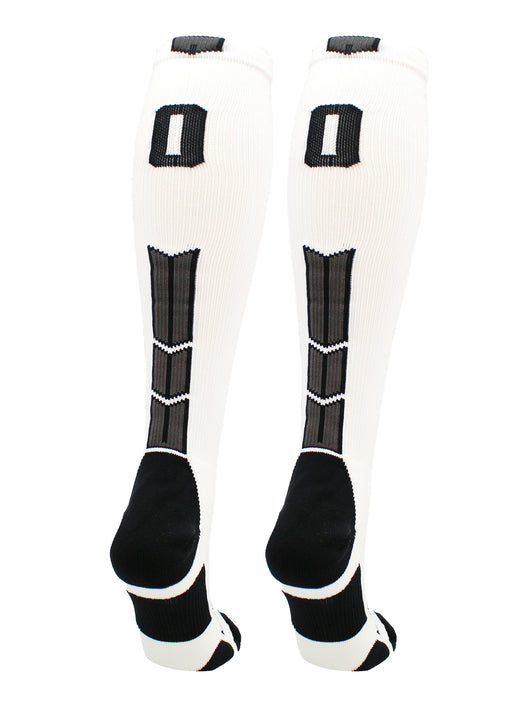 Player Id Number Socks Over the Calf White Black (#00, Small) - #00,Small