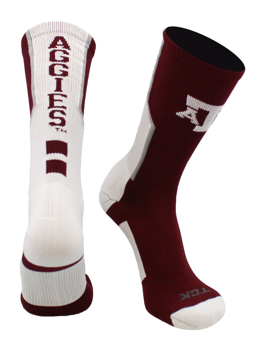 Texas A&M Aggies Perimeter Crew Socks (Maroon/White/Grey, Large)