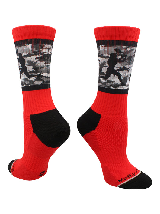 Football Player Camo Athletic Crew Socks (Red/Black, Large)