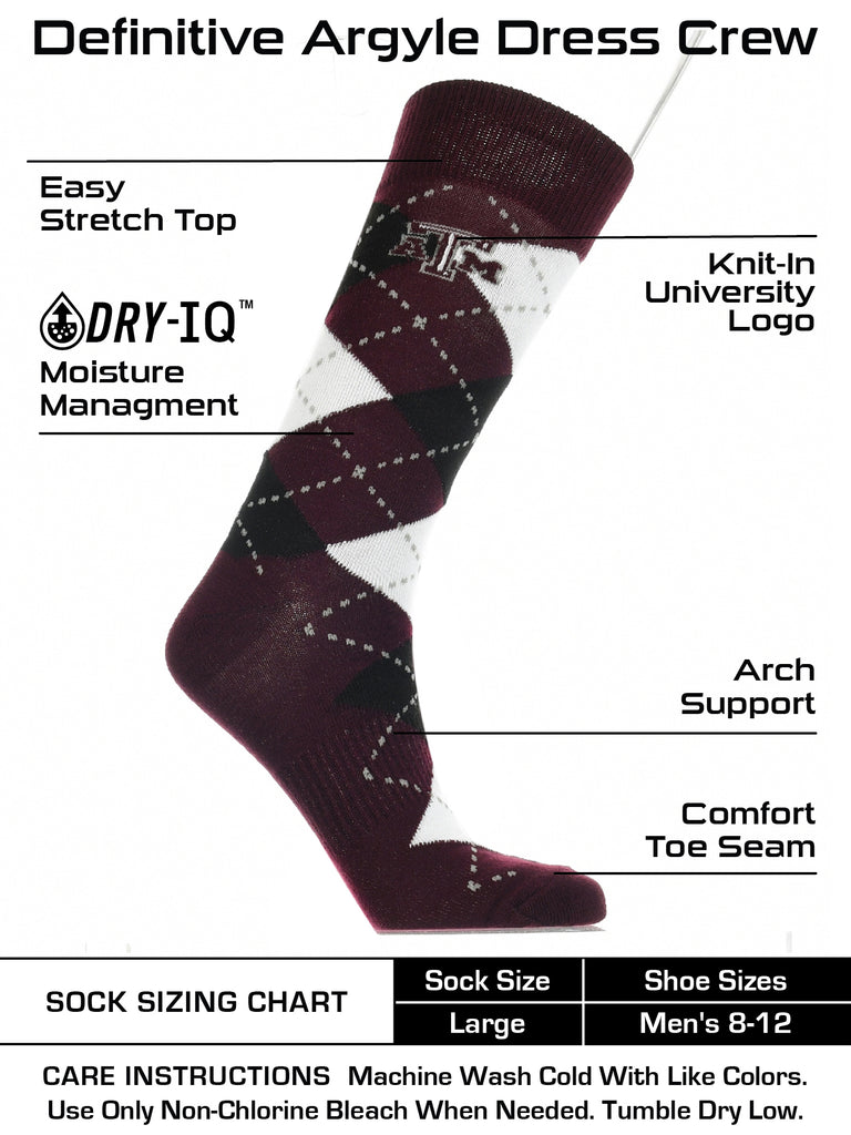 Texas A&M Aggies Argyle Dress Socks NCAA Fanwear Crew Length
