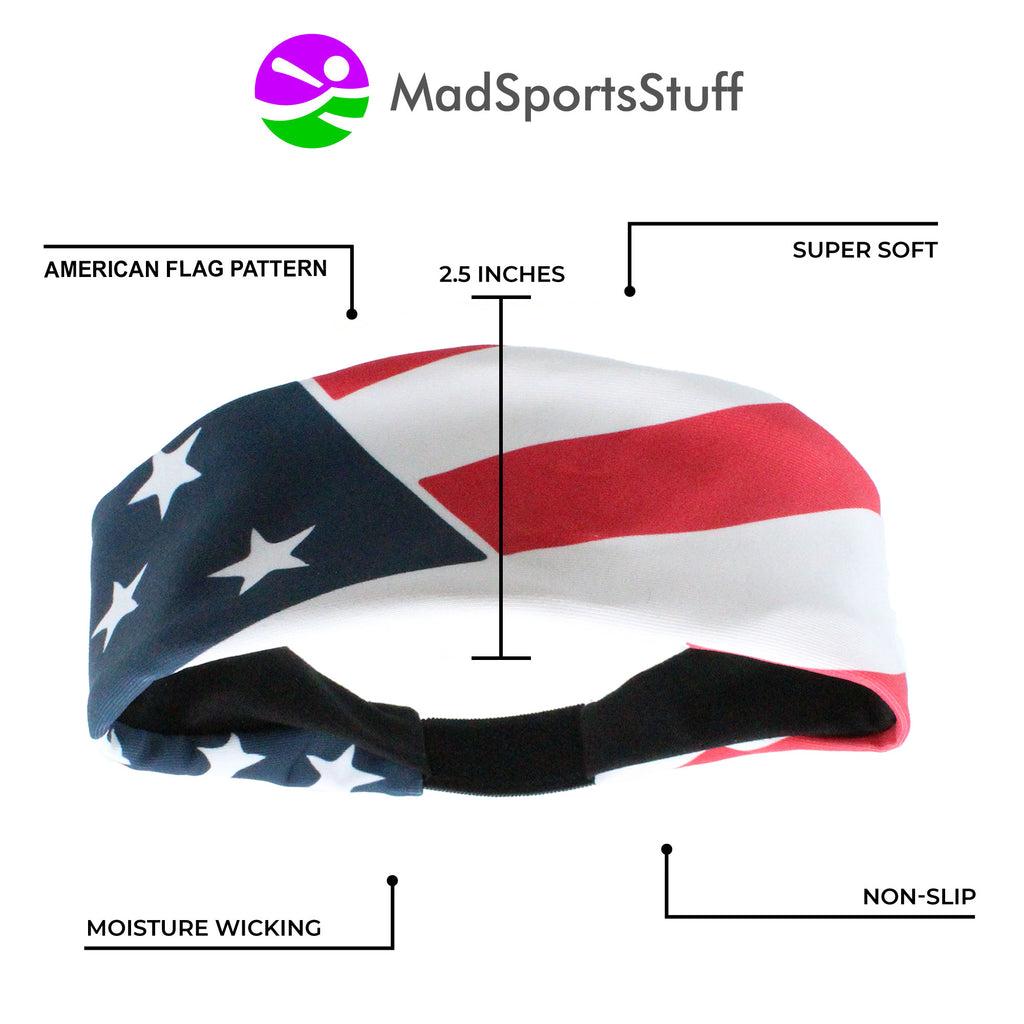 Patriotic USA American Flag Headband with Stars and Stripes