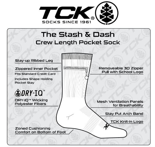 TCK Performance Zip Pocket Crew Socks, Stash & Dash