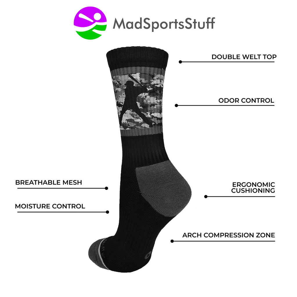 Baseball Socks with Player on Camo Background Crew Socks (multiple colors)