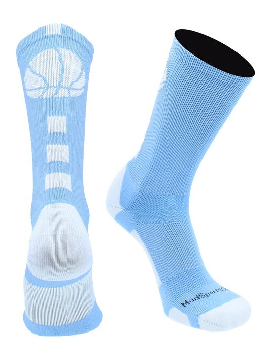 Basketball Socks with Basketball Logo Crew Socks  (Columbia Blue/White, X-Large)