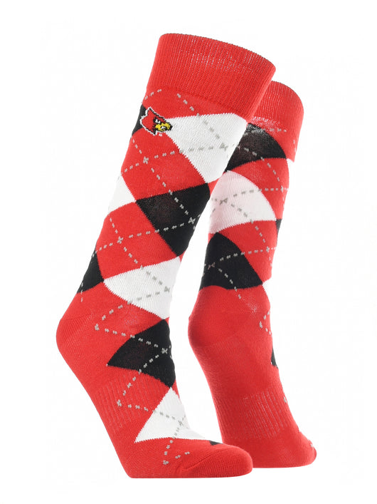 Louisville Cardinals Argyle Dress Socks (Red/Black/White, Large)