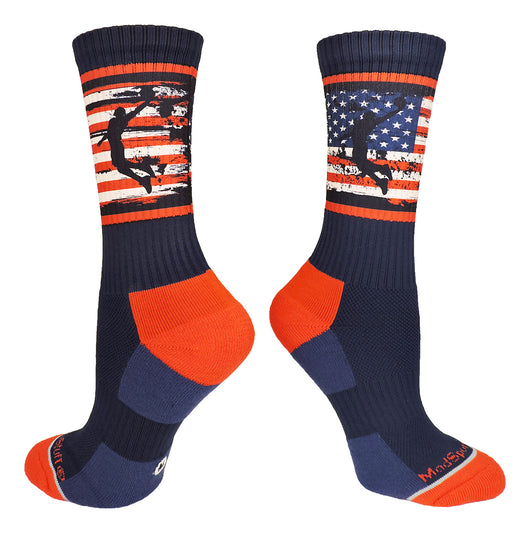 Crew length USA Basketball Socks with American Flag and Player (Navy/Red/White, Large) - Navy/Red/White,Large