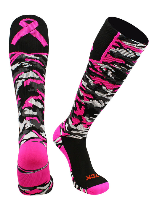 Woodland Camo Breast Cancer Awareness Over the Calf Socks (Black/Hot Pink, Large)