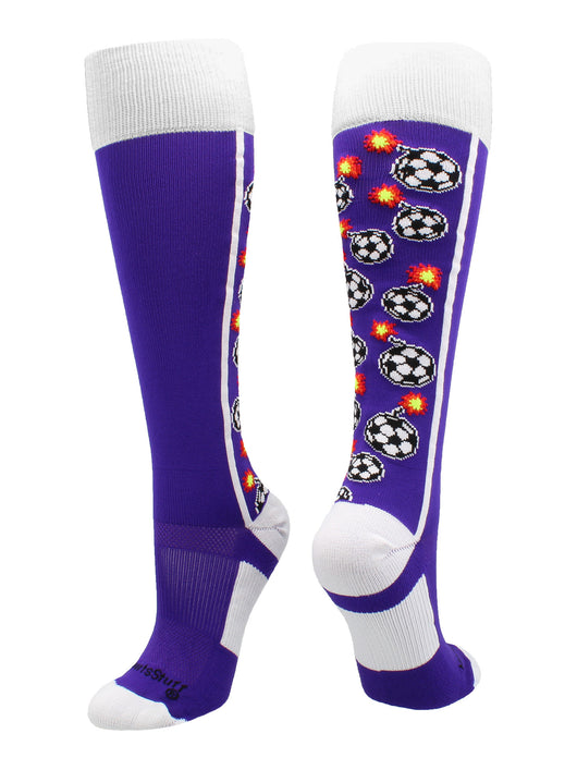 Crazy Bomber Soccer Socks (Purple/White, Large)