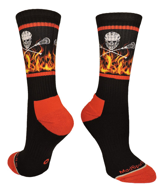 Lacrosse Socks with Lacrosse Sticks and Flaming Skull Athletic Crew Socks (Black/Red, Large) - Black/Red,Large