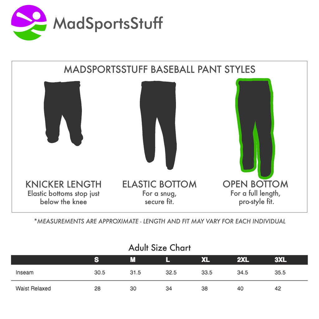 Mens Baseball Pants Open Bottom Adult Pro Line