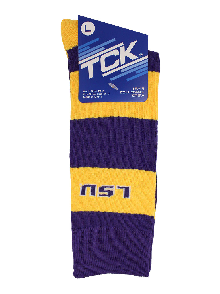 LSU Tigers Socks Game Day Striped Crew Socks